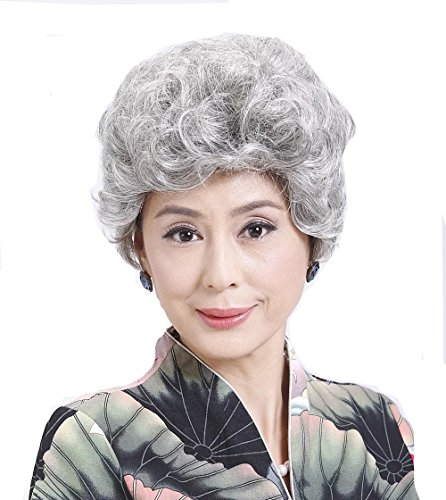 [Old Age Women's Wig,Short Synthetic Silver White hair Wigs] (Old Wigs)