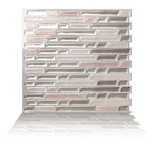 Como Kitchen - Tic Tac Tiles Anti-Mold Peel and Stick Wall Tile in Como Sand (10 Tiles)