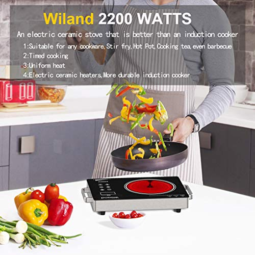 Portable Induction Cooktop Countertop Burner, 2200-Watt 120-Volts Smart Touch Sensor Countertop Induction Range Cooker, Stainless Steel Cookware with Temperature Control by Wiland (Image #3)
