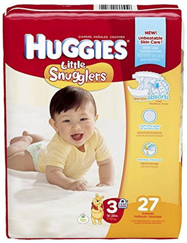 Huggies Little Snugglers Diapers - Size 3 - 27 ct