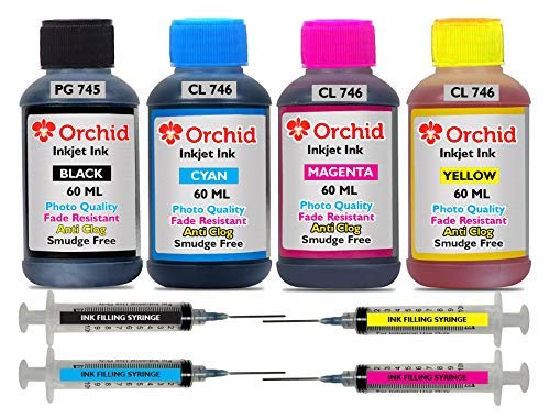 Orchid Photo Quality Ink Refill for Canon Pixma PG 745 Black & CL 746 Color Ink Cartridge Combo Pack