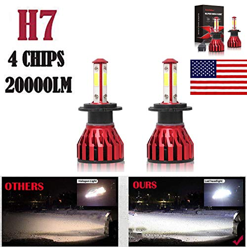 2Pcs H7 LED Headlight Bulbs Conversion Kit Car Headlamp 20000LM 6000K Cool White Hi/Lo Beam DRL Fog Light Replace for Halogen HID - Plug and Play ()