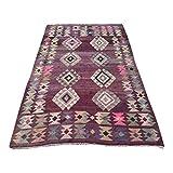 VIntage Burgundy Turkish Wool Kilim Rug - 5′5″ × 8′4″