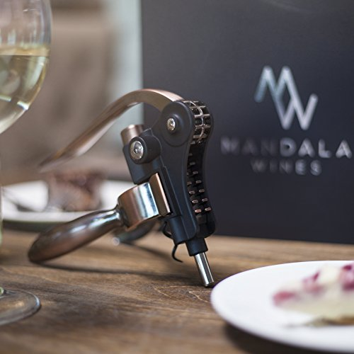 Rabbit Wine Bottle Opener Set: Bronze Metal Manual Wine Opening Accessories Tool Kit for Red, White or Rose Bottles with Elegant Portable Rabbit Opener, Black Foil Cutter, Spiral Corkscrew and Stand by Mandala Wines (Image #2)