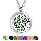 MMTTAO Essential Oil Diffuser Necklace for Women Men Aromatherapy Cloud Diffuser Locket Charms Pendant Stainless Steel Necklace Aroma Therapy Perfume Necklace Hypoallergenic Fashion Jewelry Gifts