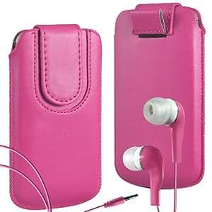 N4U Online Premium PU tirón del cuero del tirón del caso Tab cubierta de bolsa Con magnética Cierre de correa y juego Earbud Auriculares para LG Optimus L7 P700 - Rojo