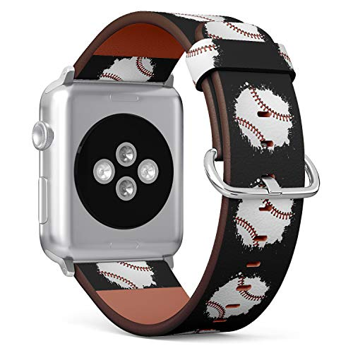(Water Paint Splash Baseball Illustration) Patterned Leather Wristband Strap for Apple Watch Series 4/3/2/1 gen,Replacement for iWatch 38mm / 40mm Bands