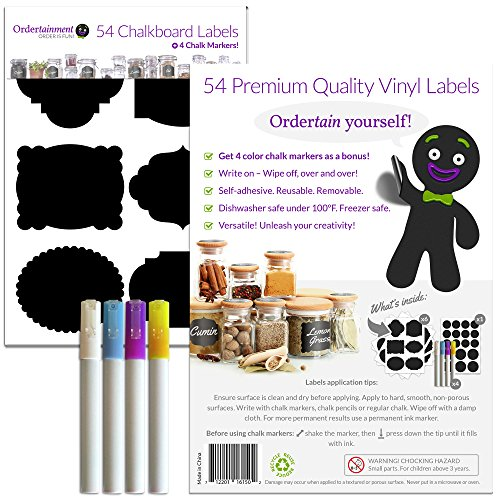 Ordertainment - 54 Premium Chalkboard Labels + 4 Liquid Chalk Markers