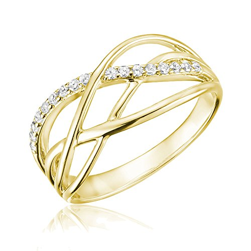 Jewels by Erika 10K Gold Diamond Swirl Ring (0.13TDW, H-I Color, I1 Clarity) Size 6 (Yellow-Gold) - Diamond 10k Gold Swirl Ring