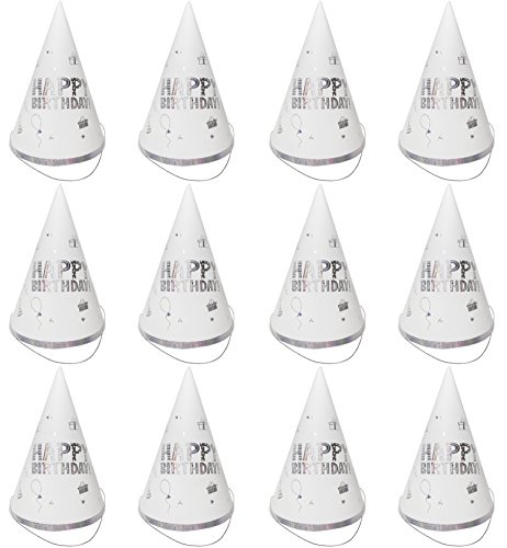 Party Cone Hats – 12-Pack Birthday Party Hats for Kids Birthday Celebration Events, Decorative Birthday Party Supplies, Silver Gifts and Balloons Design, 6 x 8.7 x 6.2 (Party Celebration Hat)