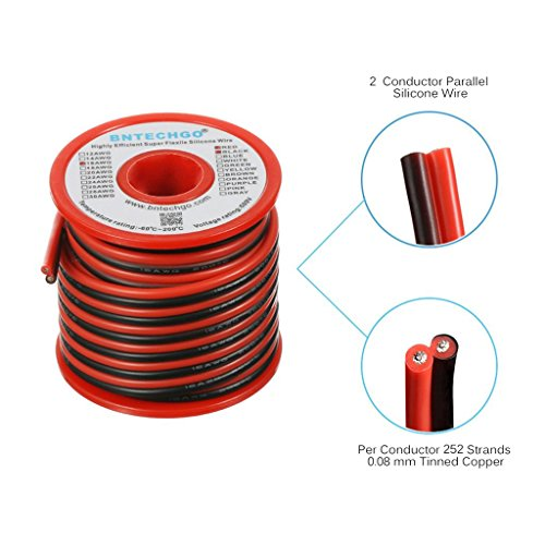 BNTECHGO 16 Gauge Flexible 2 Conductor Parallel Silicone Wire Spool Red Black High Resistant 200 deg C 600V for Single Color LED Strip Extension Cable Cord,Model,Lead Wire 25ft Stranded Copper Wire