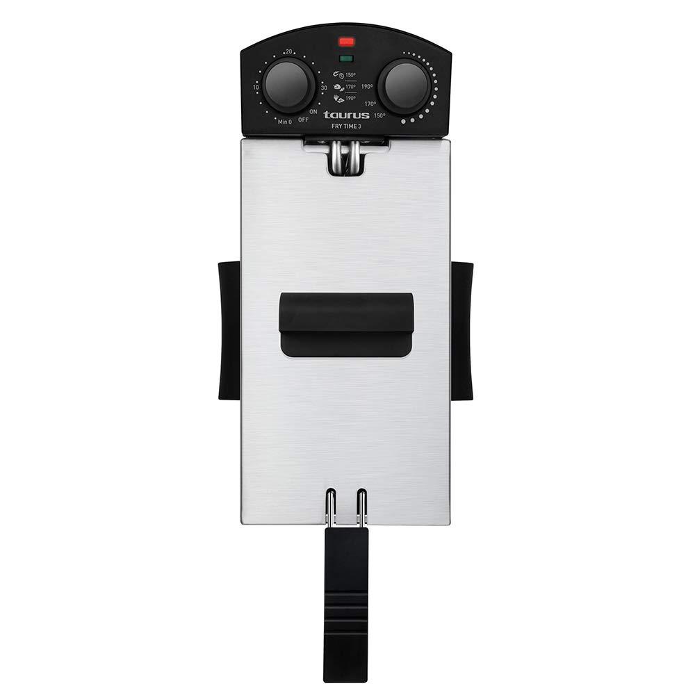 Taurus Fry Time3 - Freidora de 3 litros de Capacidad, Resistencia sumergida, 2100W, Temporizador de 30 Minutos y regulador de Temperatura: Amazon.es: Hogar