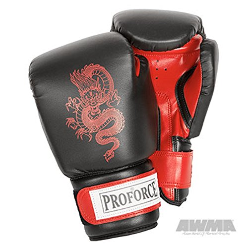 Pro Force Leatherette Boxing Gloves with White Palm (Red Dragon, 12 ()