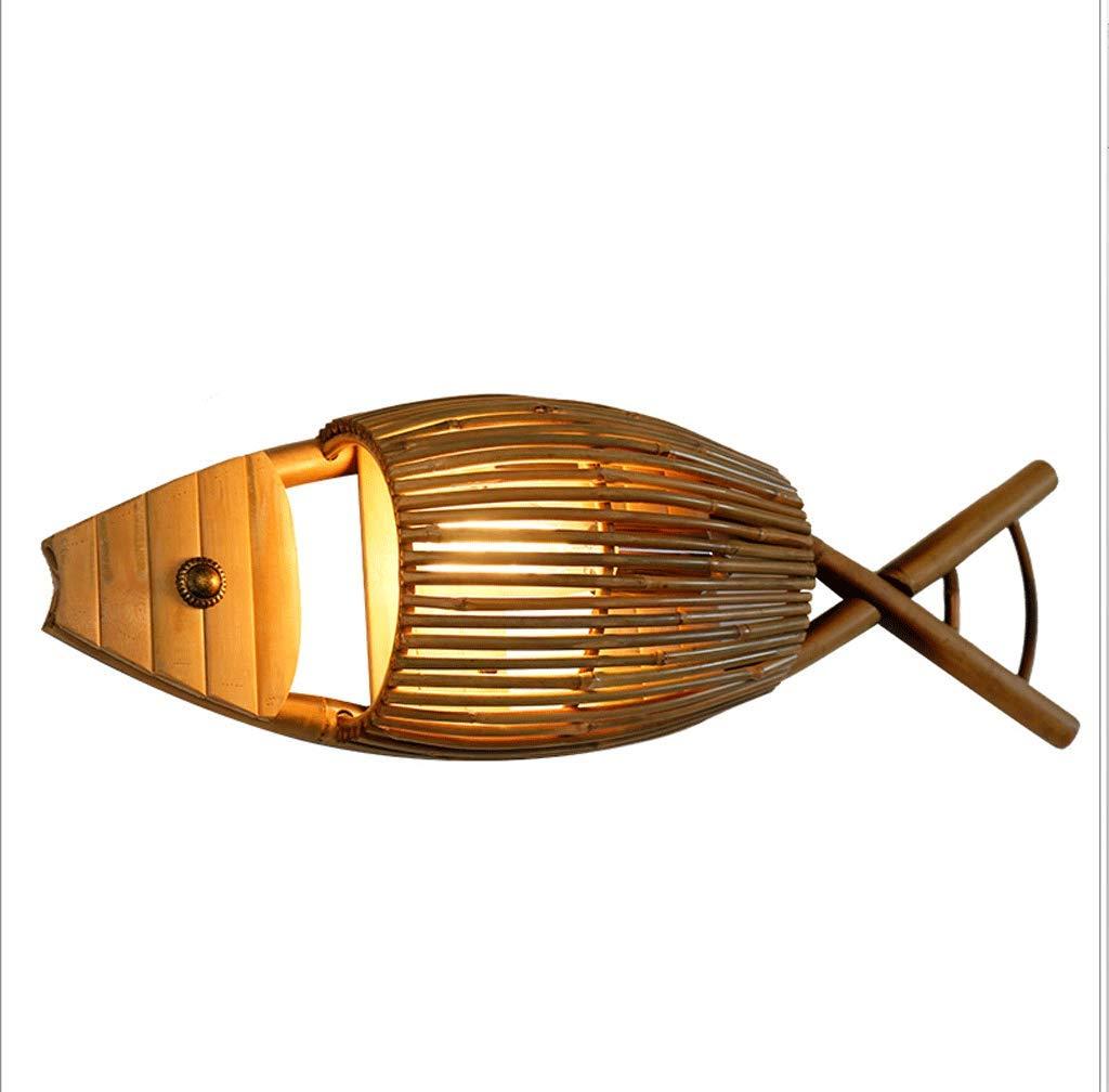 Einfache kreative Bambus Lampe Café Bar Tee Zimmer Wohnzimmer Restaurant gegrillte Fisch Lampe Bambus Lichter Fisch geformte Wandlampe
