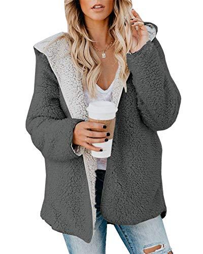 ReachMe Womens Oversized Sherpa Jacket Fuzzy Fleece Teddy Coat with Pockets Open Front Hooded Cardigan(Dark Grey,S)