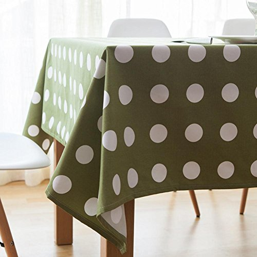 Modern Simplicity Big Dots Tablecloths Home Thickened Canvas Table Cloth Dustproof Cotton Cover Green Towel for Fridge TV Cabinet and Desk , 140140cm