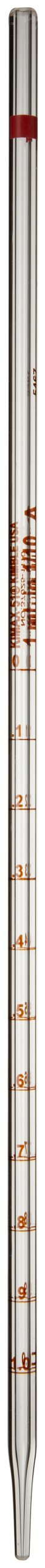 Kimble 37025-1110 Glass Serialized and Certified Mohr Style Pipet With 0.10 Divisions 1mL Volume (Case of 12)