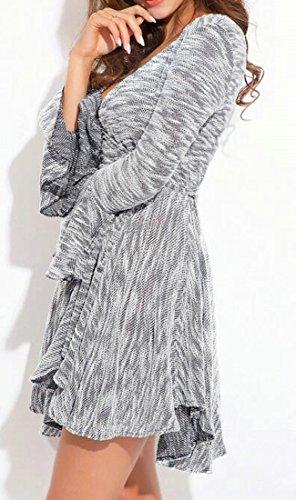 Une re Femmes Manchon guli Ligne Grises V Des Cromoncent En Cloche Sexy cou Pliss Robes Irr Courte 7gnRYwq