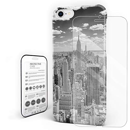 Phone Case for iPhone 7/8 Case Cover, NYC Cityscape Tourism Travel Industrial Center Town City, Protective Shockproof Anti-Scratch Back Case with Tempered Glass Screen Protector for $<!--$15.11-->