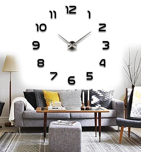 Modern 3D Acrylic Mirror Metal Frameless Large Wall Stickers Clocks Style Watches Hours DIY Room Home Decorations