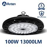 Anten High Bay UFO LED Light 100W 13000LM (400W MH Equivalent) 6000K IP65 Waterproof Industrial Grade Warehouse Gym Hanging Light Workshop Lamp CE Certified