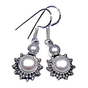 Sitara Collections SC10420 Sterling Silver Earrings, Hand-Crafted Cultured Pearl