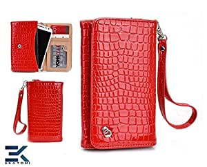 [Diva] Lenovo S660 Case - RED | Women's Wallet Shoulder Bag Universal Phone Clutch. Bonus Ekatomi Screen Cleaner