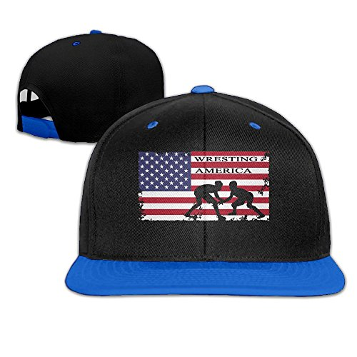 American Flag Wrestling Men's Adjustable Snapback Hip Hop Outdoor Sport Trucker Cap Hats Flat Brim RoyalBlue Baseball Cap for Men Women by HJK7HK