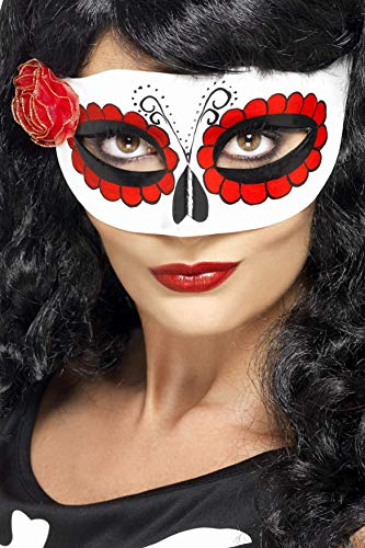Smiffys Women's Mexican Day Of The Dead Eye mask, White & Red, One Size, 27854 -