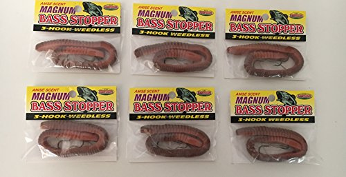 Bass Stopper Magnum Natural weedless bass fishing worms 6 pack bundle - Bass Bait Magnum