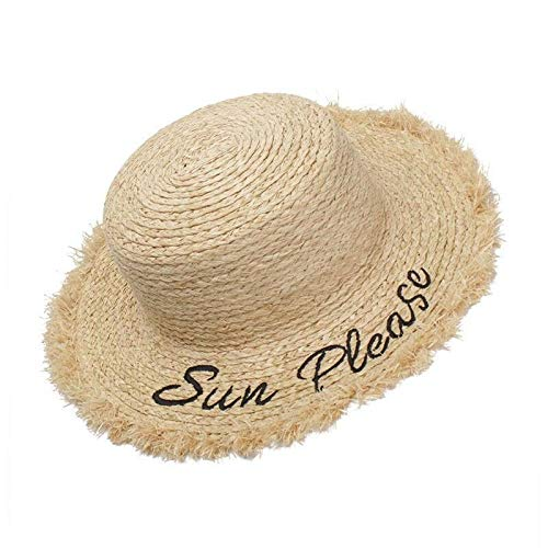 (Centenarios Female Summer hat New Grass Embroidery Flat top Visor (Color : Brown))