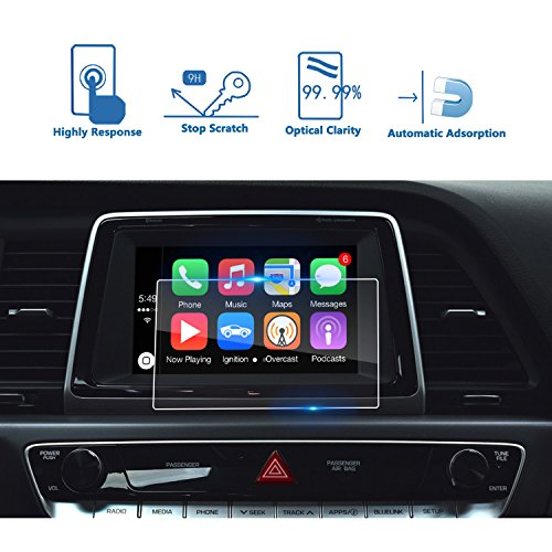 LFOTPP 2017-2018 Hyundai Sonata 7 Inch Blue Link Car Navigation Screen Protector, [9H] Tempered Glass Infotainment Screen Center Touch Screen Protector Anti Scratch High Clarity (Blue Hyundai Sonata)