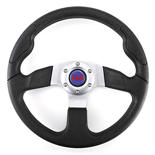 JZK New Classic Universal Steering Wheel 350mm 6 Bolts PU Material Black Color Grip and Brushed Stainless Spokes ()