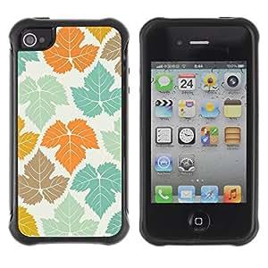 Híbridos estuche rígido plástico de protección con soporte para el Apple iPhone 4 / 4S - Canada white pattern teal orange