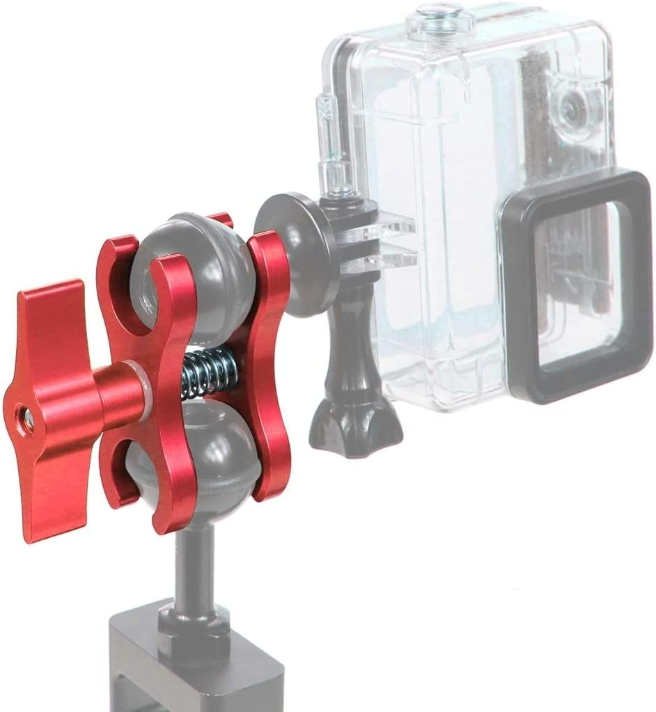 CAOMING Dual Ball Clamp Open Hole Diving Camera Bracket CNC Aluminum Spring Flashlight Clamp for Diving Underwater Photography System Durable Color : Red