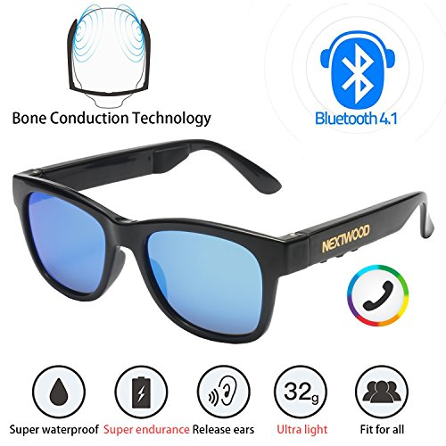Bluetooth Wireless Stealth Headset Glasses Sunglasses Bone Conduction Waterproof Intelligent Songs Artifact 6 Color Microphone Phone (Blue coated sun - Sunglasses Conduction Bluetooth Bone