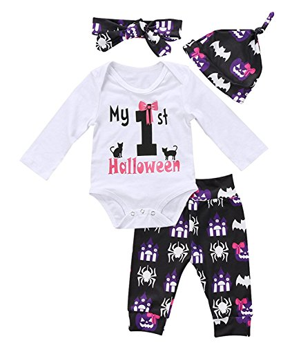 Baby Girl Halloween Outfits (HESHENG 4Pcs Infant Baby Girl Halloween Outfit Set Long Sleeve Bodysuit Pants with Hat and Headband (80/6-12months, picture color))