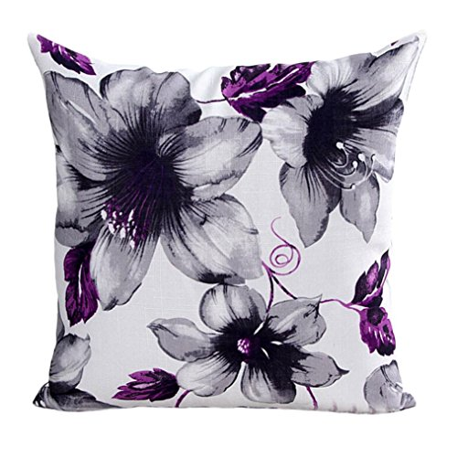 Han Shi Christmas Pillowcase, Flowers Print Sofa Bed Home Decor Pillowslip Cushion Cover (Purple, -