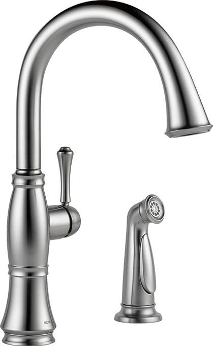 Merveilleux Delta Faucet 4297 AR DST Cassidy Single Handle Kitchen Faucet With Spray,  Arctic