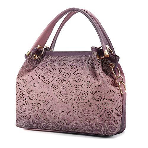 BOLUBILUY Women's Tote Bags,Ladies Large Capacity Leather Openwork Carved Wild Handbag Messenger Bag Shoulder Bag