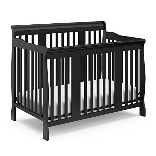 Frog 3 Piece Crib - Storkcraft Tuscany 4-in-1 Convertible Crib, Black Easily Converts to Toddler Bed, Day Bed or Full Bed, 3 Position Adjustable Height Mattress