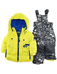 Rugged Bear Baby Boys' Solid Patch Pocket Snowsuit, Acid, 12 Months