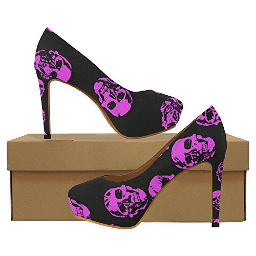 Interestprint Vintage Rayures Femmes Sexy Talons Hauts Pompes Chaussures Crâne Rose Vif