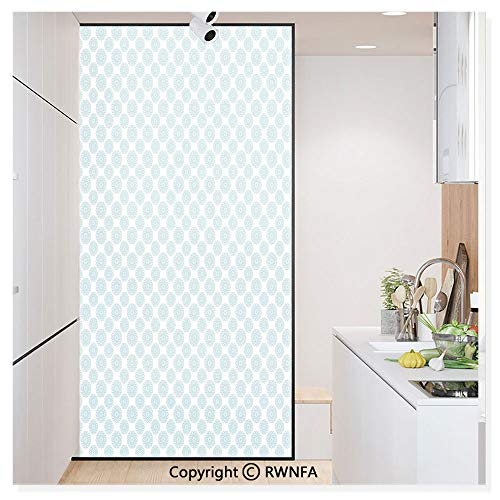 (RWN Film Removable Static Decorative Privacy Window Films Elliptical Shapes with Star Like Symbols Inside Wavy Bold Chain Pattern for Glass (17.7In. by 78.7In),Light Blue White)