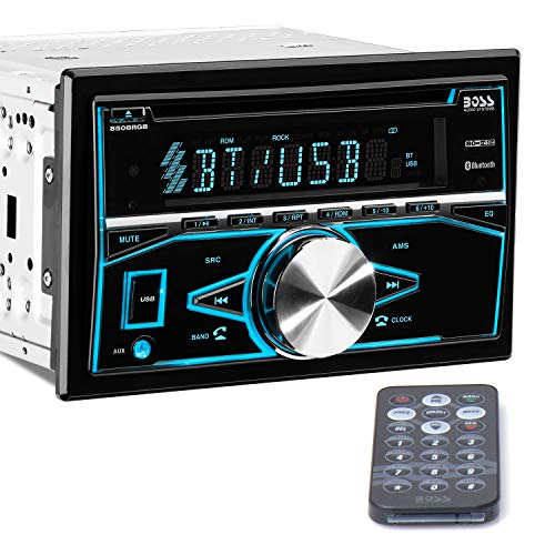 Boss Audio Systems 850BRGB Car Stereo - Double Din, Bluetooth, CD MP3 USB AM FM Radio, Multi Color Illumination