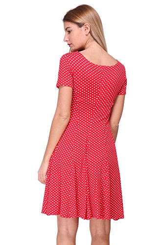 Rouge manches patineuse France pour Made Revdelle courtes in pois Robe a Femme Pwn0UB