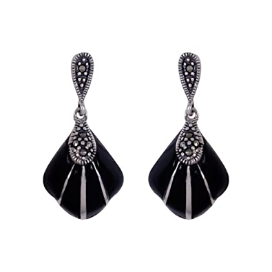 e753d428e9d Buy izaara 92.5 Silver Sterling Hallmark Silver Black Enamel and Oxidised Earrings  for Women Online at Low Prices in India