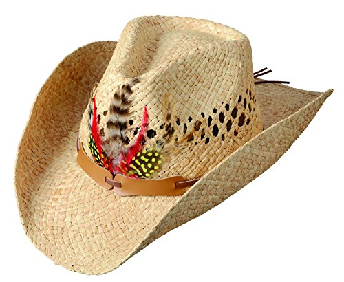 Broner Mens Vented Raffia Western Hat with Feather Trim Band