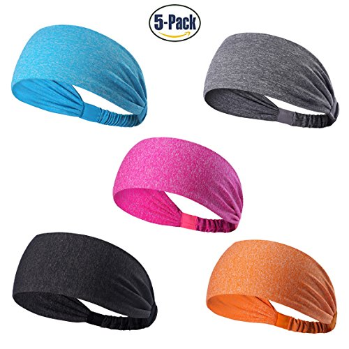 [Set of 5 and 10 Women's Yoga Sport Athletic Headband For Running Sports Travel Fitness Elastic Wicking Non Slip Style Bandana Basketball Headbands Headscarf fits all Men & Women (Style 1 - 5 Color B)] (60s Fashion Mens)