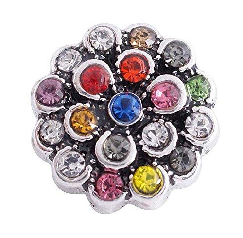 Chunk Snap Charm Mini Petite 12mm Multicolor Flower Stones 1/2